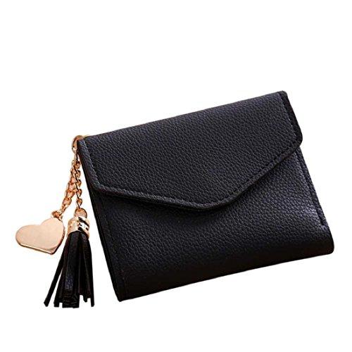 Culater® Femmes Classic Short Porte-monnaie Gland Portefeuille Porte Carte Sac à main (Noir)