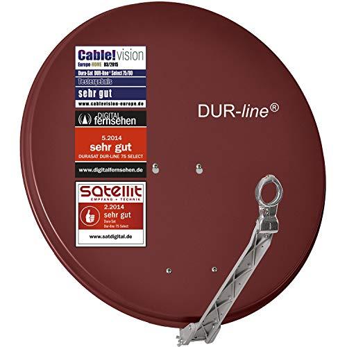 DUR-line Select 75cm/80cm Rot Satelliten-Schüssel - 3 x Test + Sehr gut + Aluminium Sat-Spiegel