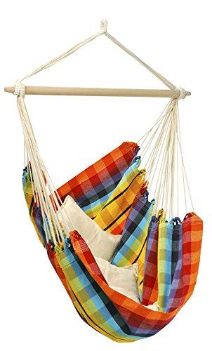 AMAZONAS Hängesessel Brasil XL für drinnen + draußen inkl. Querstab aus Holz 150 kg Belastbarkeit Hängestuhl Hängesitz für 2 Personen rainbow bunt kariert