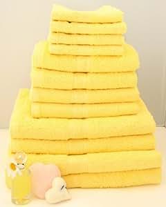 12 tlg. Handtuchset in Gelb, 2xBadetücher, 2xDuschtücher, 4xHandtücher, 4x Gästetücher
