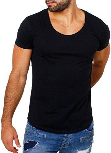 Früchtl Herren Uni T-Shirt mit Tiefem Ausschnitt Einfarbig Slimfit Basic Tee Vintage Look F-1022, Grösse:L;Farbe:Schwarz