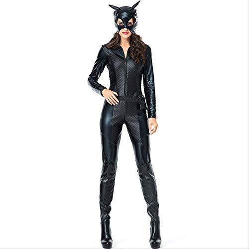 ZmnXnm Leder Halloween Kostüme, Catwoman Rollenspiel, Cosplay Katze Kostüme, Nachtshows l schwarz (Schwarze Katze Leder Kostüm)