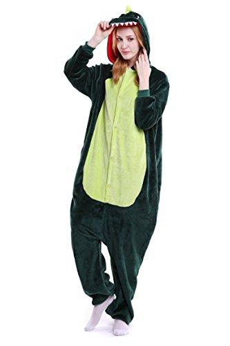 Imagen de tuopuda kigurumi pijamas unisexo adulto traje disfraz adulto animal pyjamas cosplay animales de vestuario ropa de dormir halloween y navidad l  168 177 cm height , dinosaurios verdes