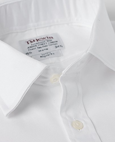 T.M.Lewin Herren Regular Fit Hemd aus luxuriösem Twill Weiß