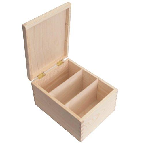 SearchBox Rechteckige Aufbewahrungsbox mit Unterteiler aus Holz; ideal für Fotos/Buchstaben/Post Cards/Geburtstag/Weihnachten Karten/CD 's