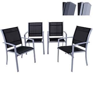 Miadomodo Sedie da giardino esterno in acciaio colore grigio chiaro set da 4