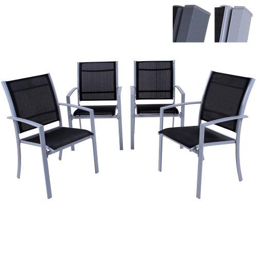 Miadomodo – Juego de 4 elegantes sillas de jardín – Gris claro – Dos...