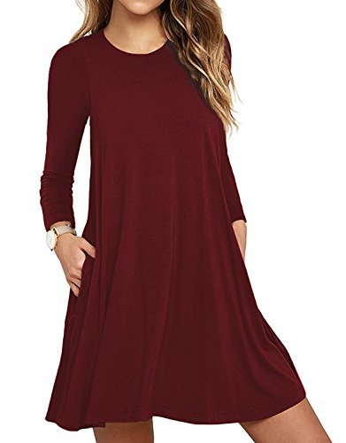 HAOMEILI Damen Langarm Stretch Casual Loose T-Shirt Kleid L Weinrot