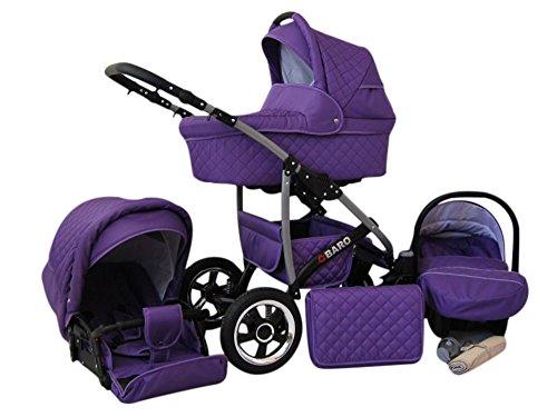 Lux4Kids Kinderwagen Komplettset (Autositz & Adapter, Regenschutz, Moskitonetz, Schwenkräder; 9 Farben) 09 Violett Q-Bus
