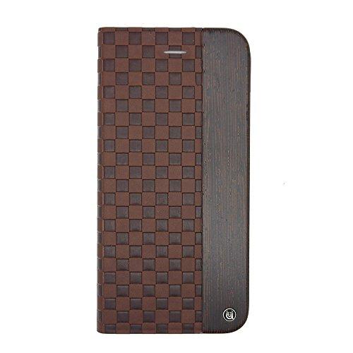 Uunique Mode Holz Checker geprägt Folio Hard Shell Schutzhülle für iPhone 6/6S–Braun