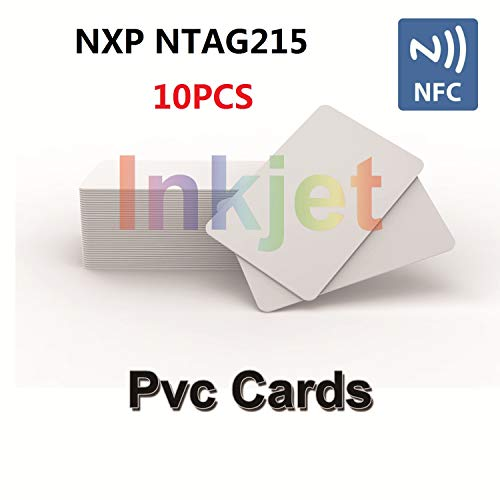 TimesKey 10 X Carte a Getto d'inchiostro in PVC NFC con Chip NFC NXP NTAG215 Compatibile con Stampanti a Getto d'inchiostro Epson e Canon, Scheda in Bianco CR80 30MIL, Compatibile con Amiibo e TagMo