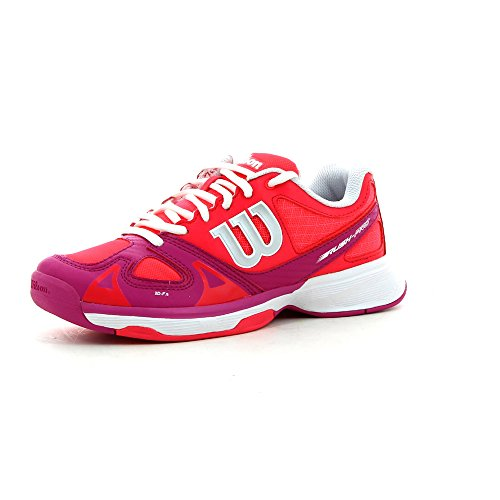 WILSON Rush PRO Unisex-Kinder Tennisschuhe, Mehrfarbig - Rojo/Rosa/Blanco - Größe: 28 1/2
