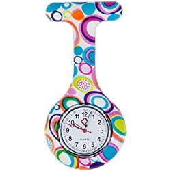 Best Quality Brooch / Fob Watch For Health Care Workers, Nurses And Doctors In White Silicone Hygienic Protection Cover For Infections Control With Bubbles Patterns / Designs In Many Colours By VAGA