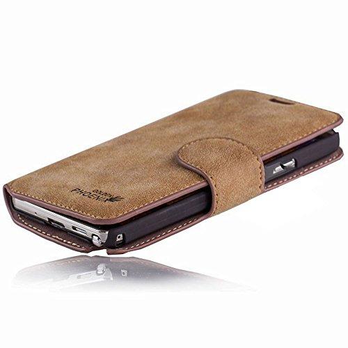 Golden Phoenix KLASSIK Hülle für Apple iPhone SE - 5 - 5S mit Geldfach oder Kartenschlitze - Cover Tasche in Braun Beige