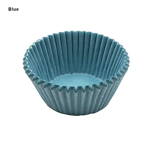 100 Stück Muffinförmchen aus Papier, Mini Cup Cake Cases, Mini-Papierförmchen(Blau)