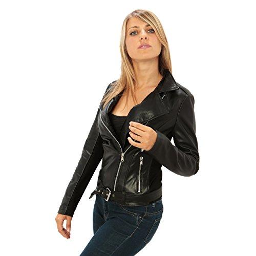 Chiodo in vera pelle da donna vestibilità slim-fit e manica double-face Made in Italy Nero
