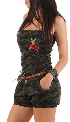 malito Damen Einteiler kurz in Unifarben | Overall mit Gürtel |schicker Jumpsuit | Romper �?Playsuit �?Hosenanzug 8964 camouflage Rose