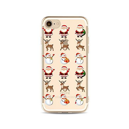 "CoqueiPhone 7 Etui Housse Xmas,BoomTeck Coque Pour 4.7"" Apple iPhone 7 Silicone Souple Transparente Motif Clear Ultra Mince Anti Choc Anti-rayures Gel TPU Etui Protection Bumper Case Merry Christmas  17"