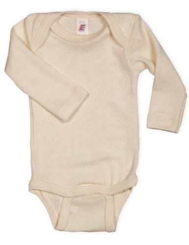 Baby Body langarm, Wolle Seide, Engel Natur, Gr. 86/92