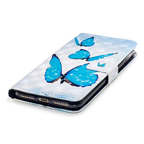 iPhone 7 Plus Custodia, iPhone 8 Plus Cover, JAWSEU iPhone 7 Plus / 8 Plus Custodia Pelle Portafoglio Lusso 3D Modello Design Creativo PU Leather Wallet Flip Cover Custodia per iPhone 8 Plus Copertura Farfalla Blu
