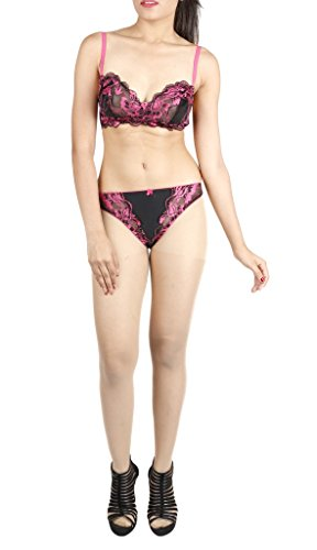 LITTLE LACY All Over Nett Full Cup Designer Bra & Panty Set ( Amour_4_Black_38B)  available at amazon for Rs.495