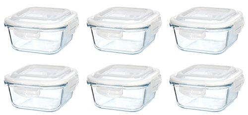 Original Glas Click´n Store Frischhaltedosen-Set 6 mal 520 ml Inhalt #802238 quadratisch / 100{226648cd1d12a39cf5a512846f908aa8c9d32ba03c582b8113c801a4ecc73c81} luft- und wasserdicht/hitzebeständig bis 400 Grad/BPA-frei