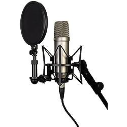 Rode NT1A - Micrófono condensador de estudio (con carcasa y adaptador para soporte), color plateado