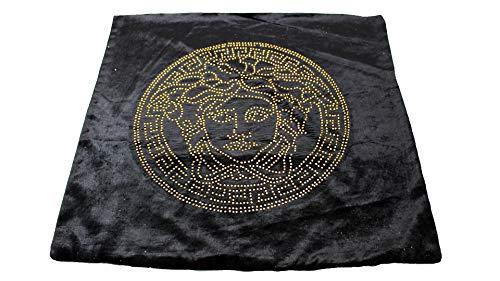 Deko-König Medusa Samt Kissenbezug 55x55 schwarz mit goldenen Strasssteine