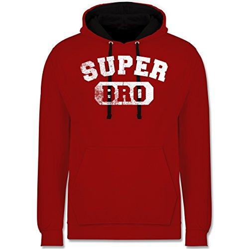 Bruder & Onkel - Super Bro - Vintage-&Collegestil - Kontrast Hoodie Rot/Schwarz