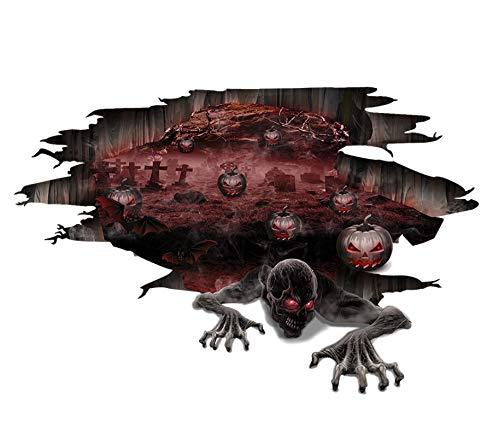hädel 3D Scary Boden Abziehbilder Wohnzimmer Pub Dekoration Halloween Liefert PVC Entfernbare Wandaufkleber 35 * 50 CM ()