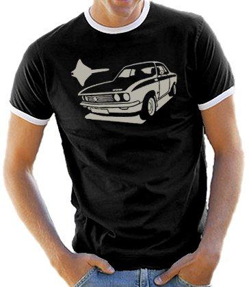 Youngtimer-T-shirt con motivo Opel serie Manta A Ringer/contrasto T-Shirt Black/Silver, XL