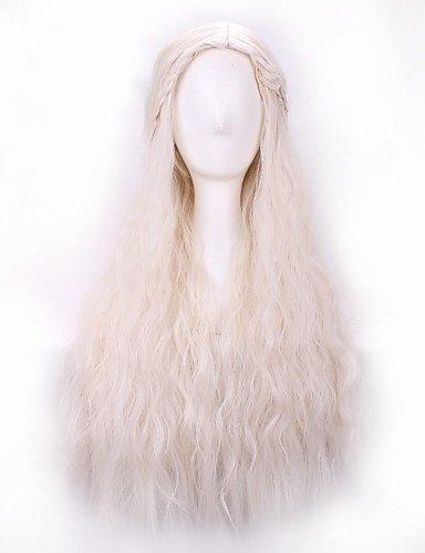 xzl Pelucas de la manera larga PureColor Daenerys luz rizos de oro chica fibra temperatura 28inch cosplay Targaryen pelucas de pelo sintético