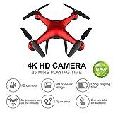 JJR/C Droni Videocamera 4K HD RC Drone Quadcopter/Elicottero,Altamente Stabile Rilevamento di gravità Trasmissione in Tempo Reale WiFi 25 Minuti di Volo,per Principianti Bambini Adulti,Rosso