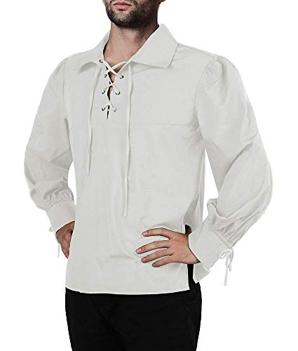 Kostüm White Knight - Karlywindow Herren Mittelalter Pirat Schnürung Stehkragen Weite Manschetten Kostüm Hemd Tops - weiß - Groß