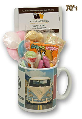 VW Camper Van Logo Mug with a Dub Selection of 1970's Retro Sweets