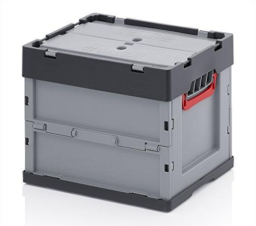 Profi-Faltbox mit Deckel 2er Set Auer Faltbox, FBB 43/32, 40x30x32 cm, 31 Liter, Behälter Stapelbehälter Aufbewahrungskiste Transportbox Plastikbox (Kunststoff-lebensmittel-lagerung-kisten)