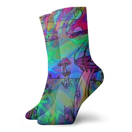 Jxrodekz Psychedelic Trippy Wallpaper Men Women Novelty Funny Crazy Crew Sock Printed Sport Athletic Socks 30cm Long Personalized Gift Socks