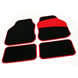Tailored Perfect Fit Salsa Black Velour Carpet Interior Car Mats for Peugeot 207 (2006 Onwards) - Red Protection Heel Pad & Neat Red Ribb Edge Trim