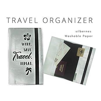 Silbernes Reise Etui | Travel Organizer für die Reise | Dokumentenmappe | Geschenk für Globetrotter | Reisepass Hülle | Washable Paper