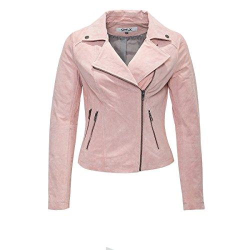Only Damen Wildleder-Jacke Leder Blouson Short Suede Biker (S, Cloud Pink)