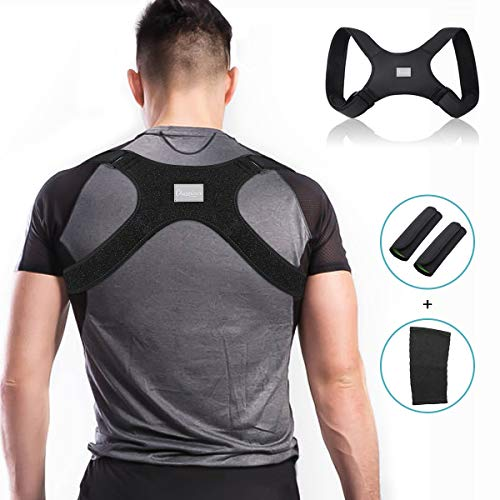 Charminer Geradehalter zur Haltungskorrektur, Haltungstrainer Rückenbandage Rückenstütze Schultergurt gegen Nacken Schulterschmerzen für Damen Herren mit 2 Schulterpolster 1 Knieschützer