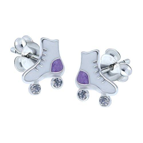Weiß Rollschuh-Ohrringe–Sterlingsilber