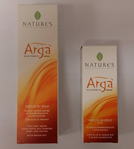 Nature's argà gocce di sole fluido autoabbronzante ultra rapido viso 30 ml + corpo 125 ml