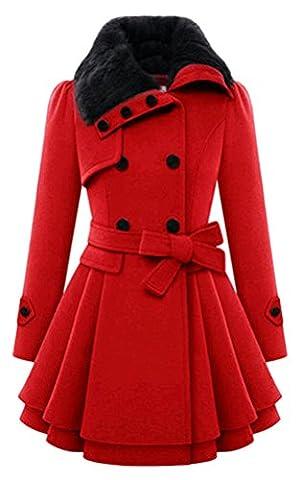 Blansdi Damen Mädchen Frauen Winter Elegant Dicken Warm Faux Fell Revers Kragen Zweireiher Kunstpelz Baumwoll gefüttert Schlank Knöpfen Trenchcoat Mantel Jacke Mit Gürtel