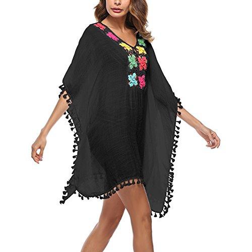 Dxlta Cover Up para mujeres - Túnica de color borla transparente túnica de playa traje de baño de verano Bikini vestido de baño