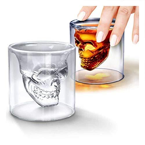 Kreative Designer-Schnapsgläser mit Totenkopf-Motiv, Bierglas, Bierglas, Whisky, Vodka, Tee, Kaffee, Getränke, Halloween-Geschenk, 2 Stück 75ml mehrfarbig