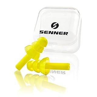 Senner Silikon Gehörschutz Ohrstöpsel (SNR 30) zum Schwimmen, Schlafen, Arbeitsschutz und Schutz vor Lärm, gelb/transparent, mit Aufbewahrungsbox