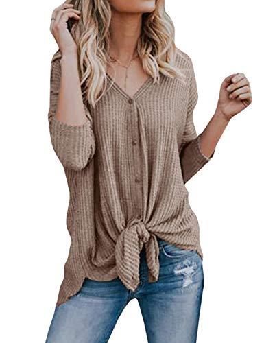 Modfine Damen Cardigan V-Ausschnitt Langa rm Asymmetrisch Oberteil Sweatshirt Strickpullover Pulli Outwear Tops -