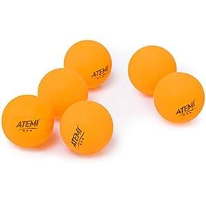 Atemi 3-Sterne Ping Pong Tischtennisbälle (6er Pack) Pro 40 mm Regeln | Indoor/Outdoor | Standard Tischtennis-Set | Verbessert in Abprall, Rundheit, Härte | Orange oder Weiß