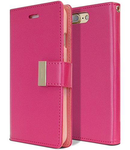 iPhone 7 Plus Hülle, iPhone 8 Plus Wallet Case [Drop Protection] Goospery Rich Diary [ID/Card & Cash Slots] Premium PU Leder Flip Case [Magnetverschluss] Folio Style Cover, Rich Hot Pink Pink Case Leder-folio